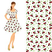 Girl in elegant dress with cherry pattern