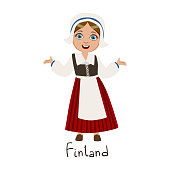 Girl In Finland Country National Clothes, Wearing Bonnet And Corset Traditional For The Nation