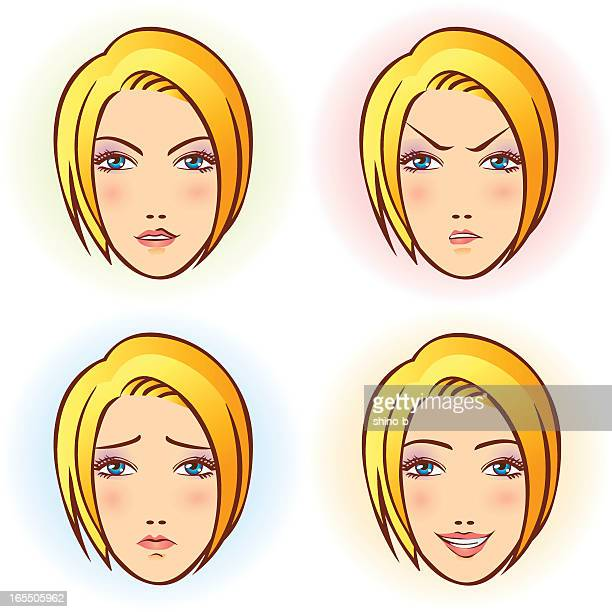 Girl in four Facial Expression