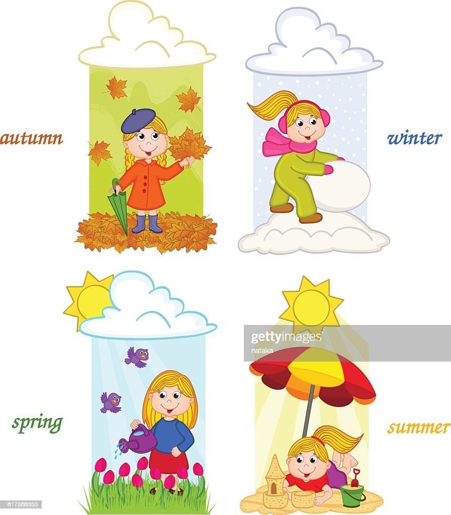 girl in four seasons of year