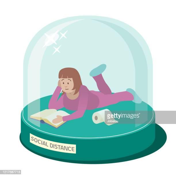 illustrazioni stock, clip art, cartoni animati e icone di tendenza di ragazza in cupola di vetro che fa distanza sociale - giovane adulto