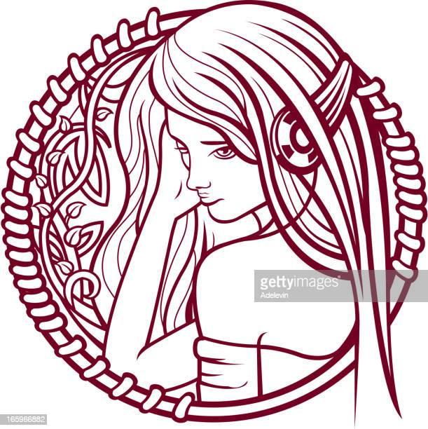 ilustraciones, imágenes clip art, dibujos animados e iconos de stock de chica en auriculares - mujer escuchando musica