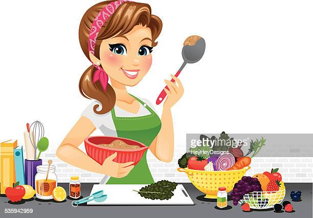 girl in kitchen - one woman only stock illustrations