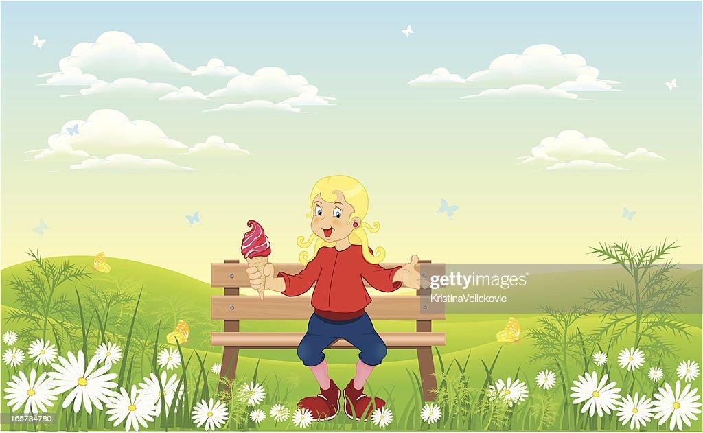 Chica en la naturaleza : Ilustración de stock