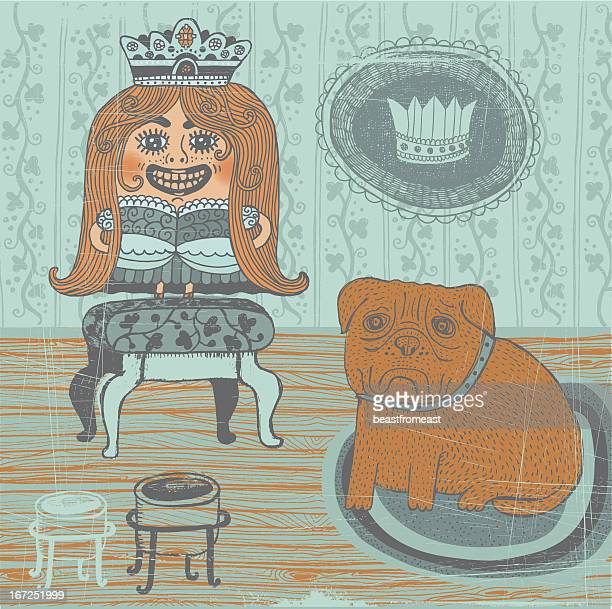 girl in princess fancy dress with sad looking bullmastiff indoors - nice france stock illustrations, clip art, cartoons, & icons
