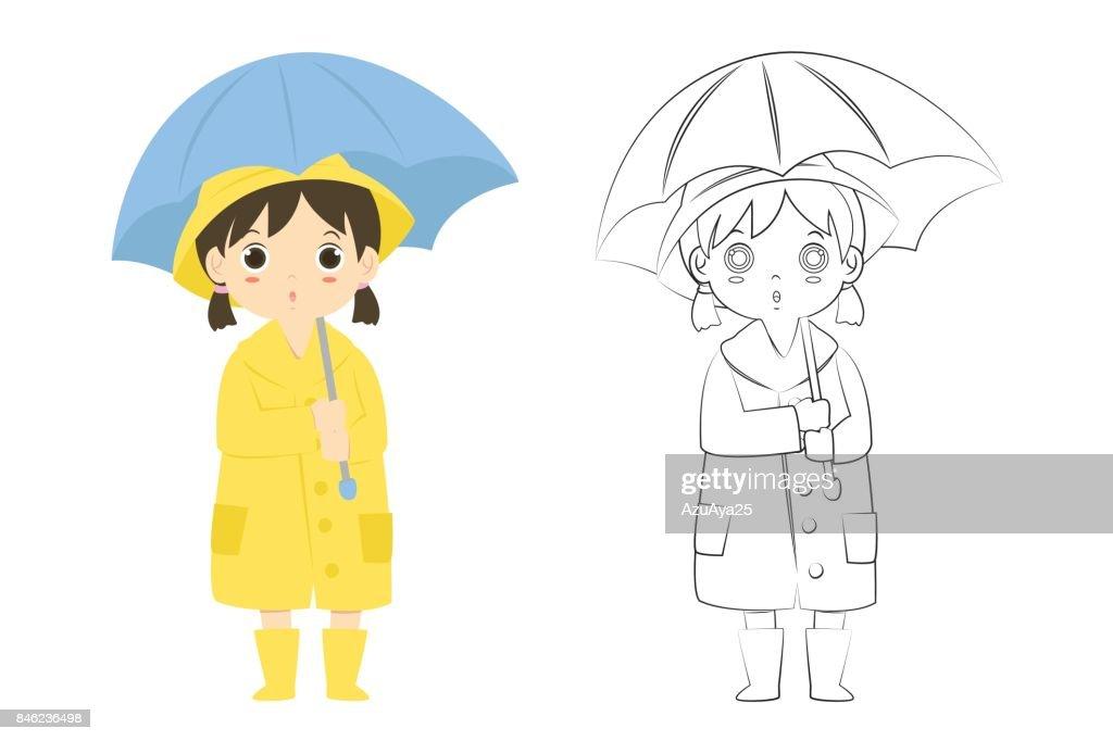 Girl in Raincoat Outline Cartoon Vector