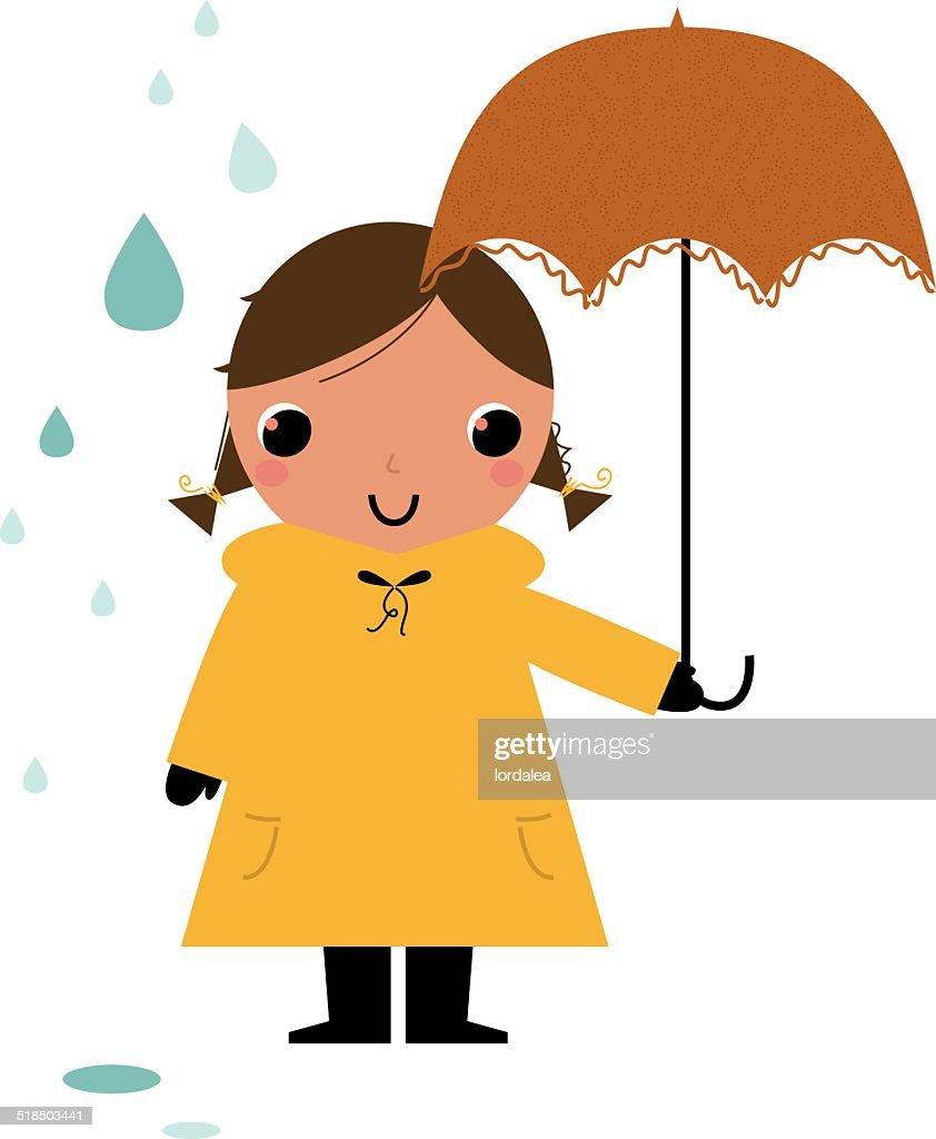 Girl in raincoat under rain