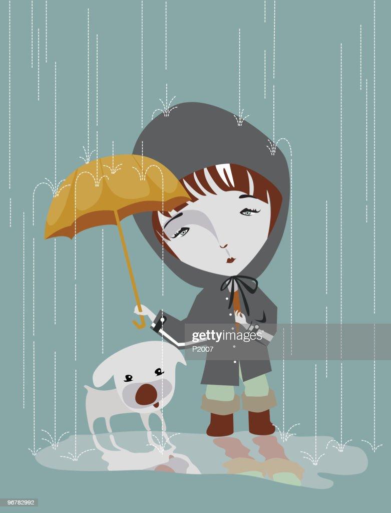 Girl in rainy day
