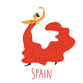 Girl in red dress dancing flamenco.Vector illustration.