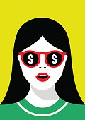 Girl in sunglasses with a reflection of money