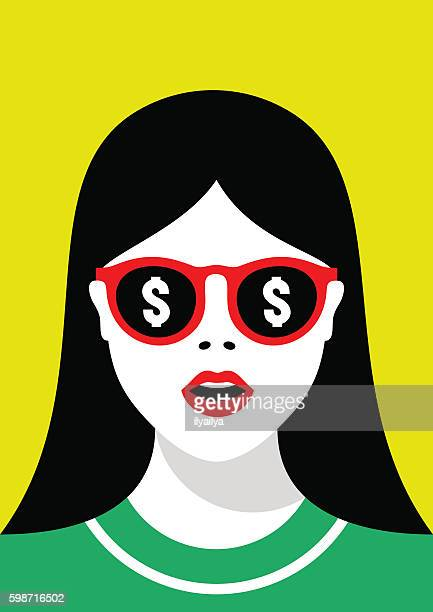 ilustraciones, imágenes clip art, dibujos animados e iconos de stock de girl in sunglasses with a reflection of money - gafas de sol