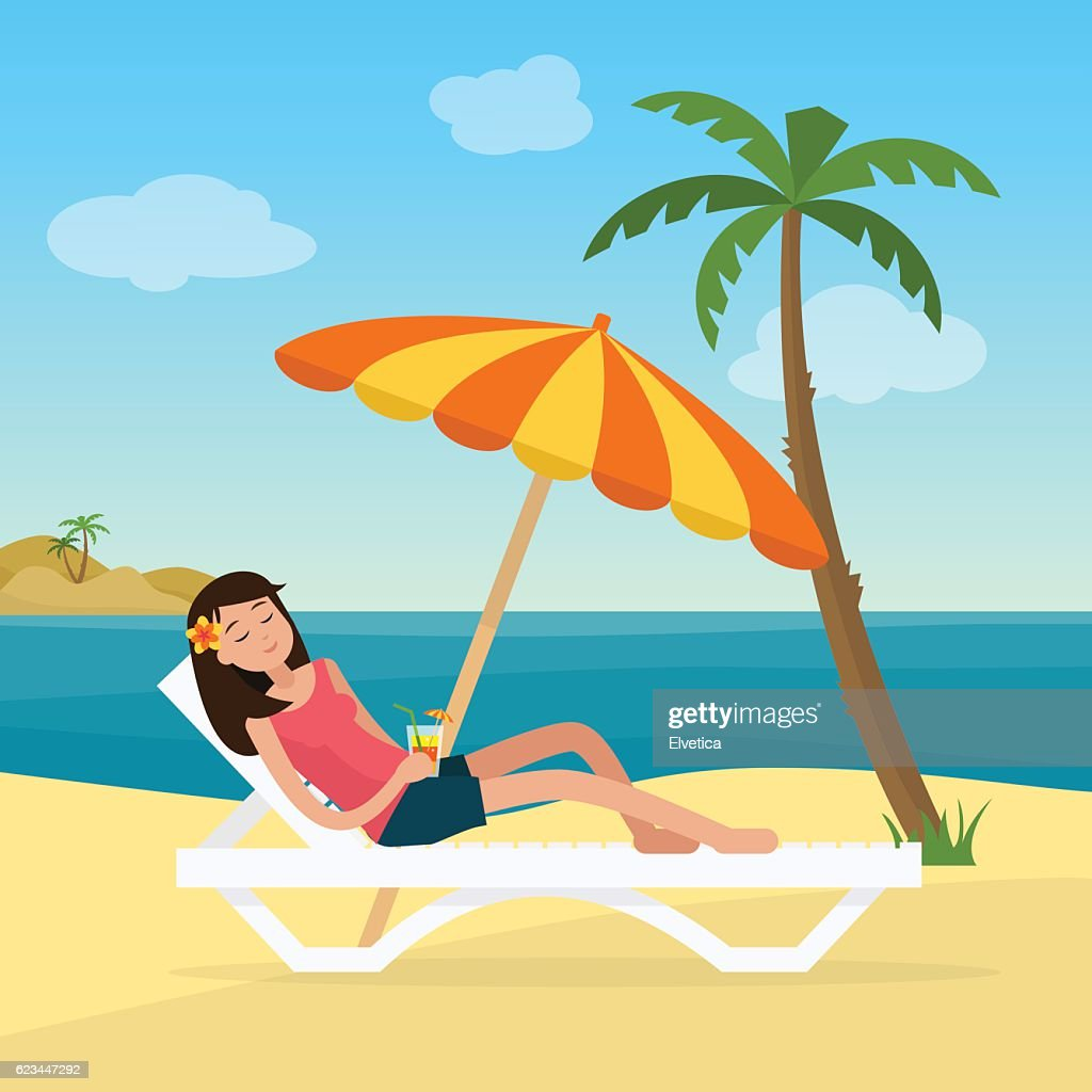 Girl in swimsuit in hammock with palm trees on beach.