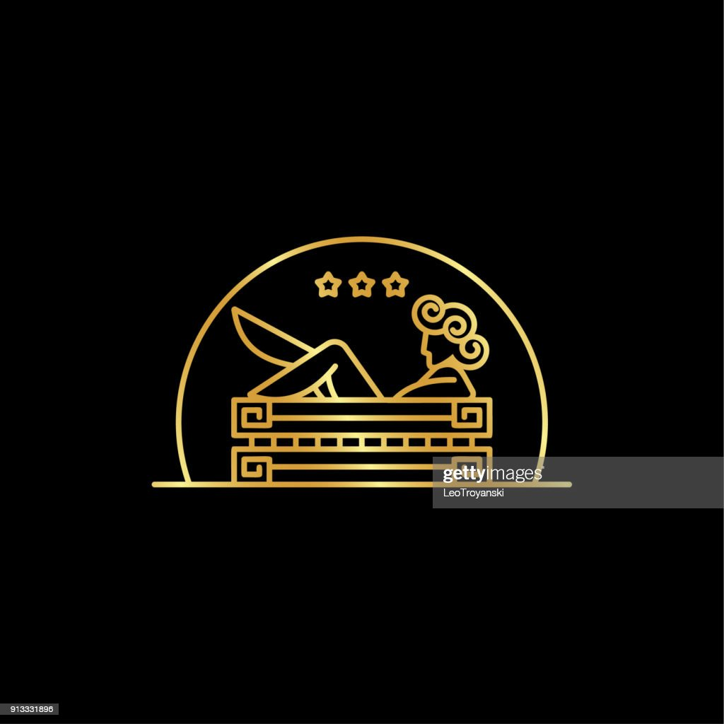 Girl in the bath. Linear abstract illustration of the goddess in the bathroom in the Greek style.