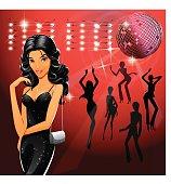 Girl in the disco club