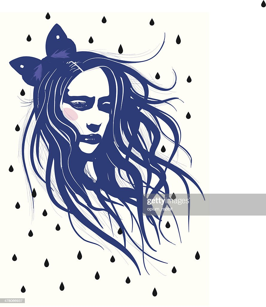 Girl in the rain with waving hair - Illustration