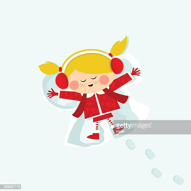 girl in the snow - lying on back stock illustrations, clip art, cartoons, & icons