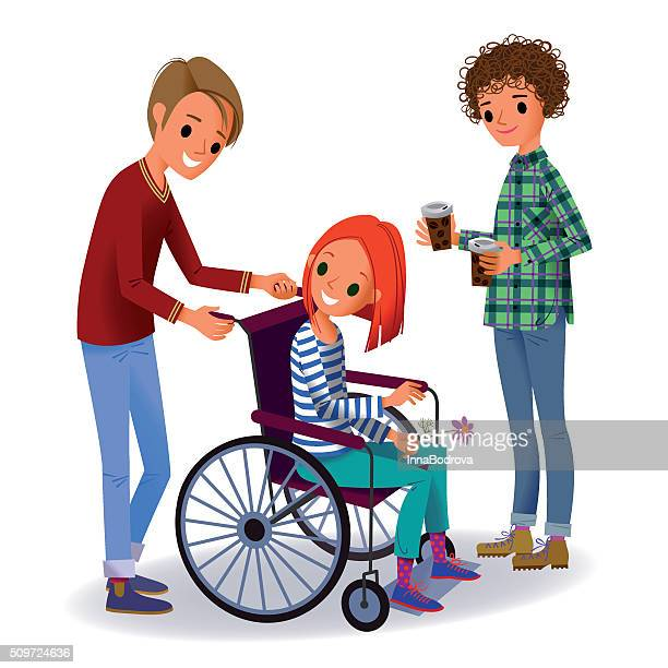 Girl in the Wheelchair and Two Volunteers.