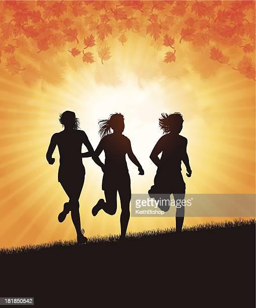 girl joggers in autumn season - women's track stock illustrations, clip art, cartoons, & icons