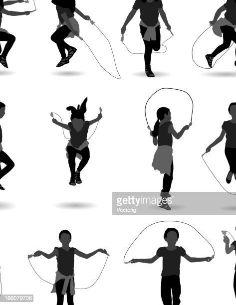 girl jumping over skipping rope - jump rope stock illustrations, clip art, cartoons, & icons