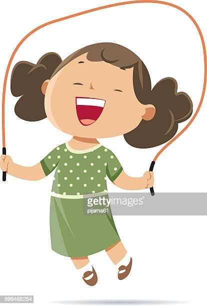 girl jumping rope - jump rope stock illustrations, clip art, cartoons, & icons