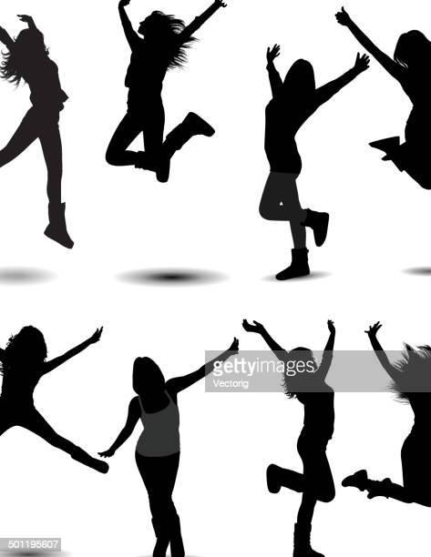 ilustraciones, imágenes clip art, dibujos animados e iconos de stock de niña de salto - salto de longitud