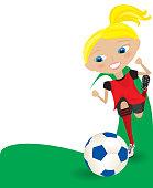 Girl kicking Soccer Ball or Football