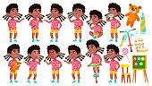 Girl Kindergarten Kid Poses Set Vector. Black. Afro American. Caucasian Child Expression. Activity. For Banner, Flyer, Web Design. Isolated Cartoon Illustration
