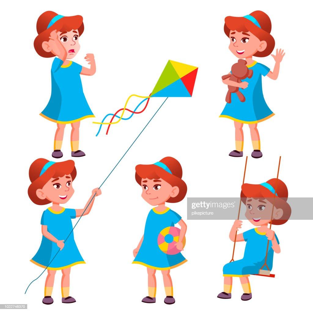 Girl Kindergarten Kid Poses Set Vector. Character Playing. Childish. Casual Clothe. For Presentation, Print, Invitation Design. Isolated Cartoon Illustration
