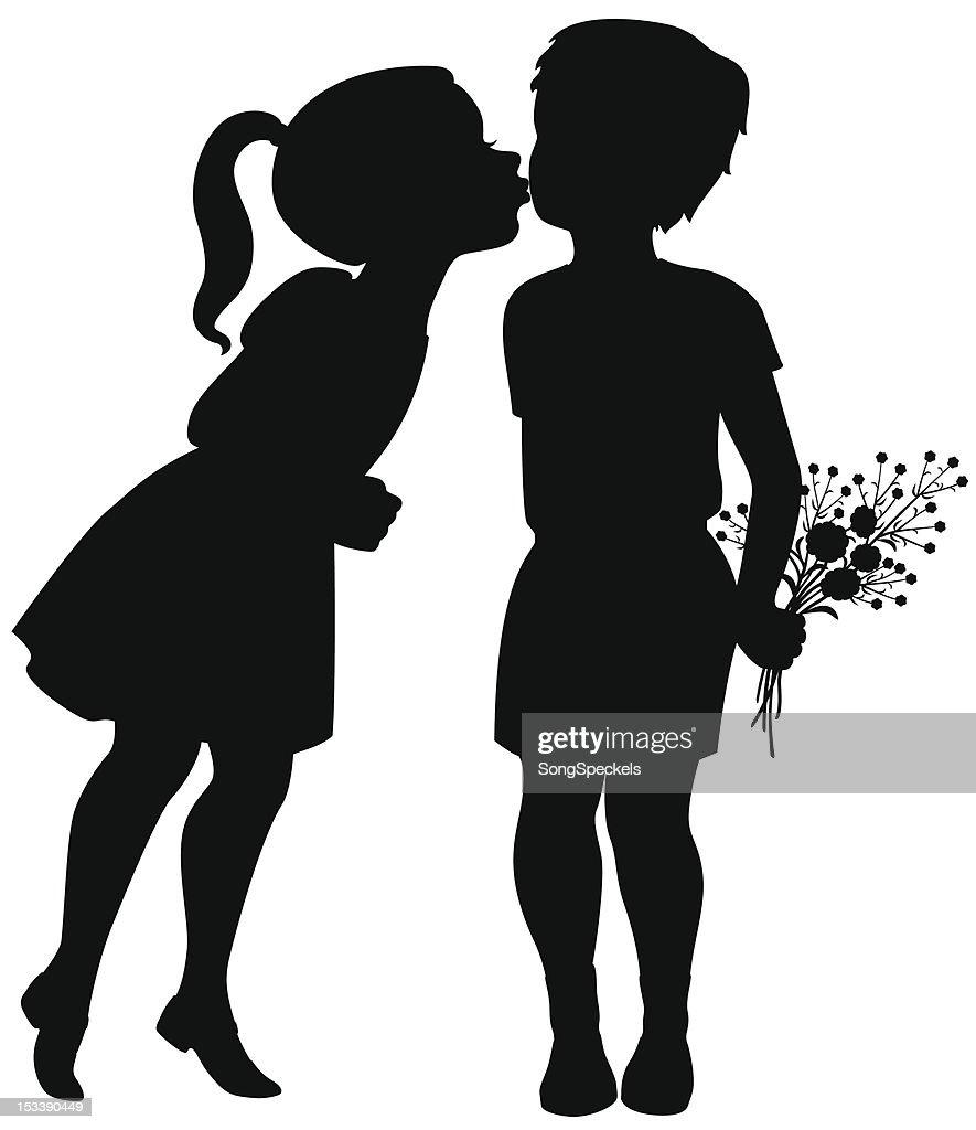 Girl kisses boy