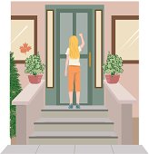 Girl Knocking On Door C