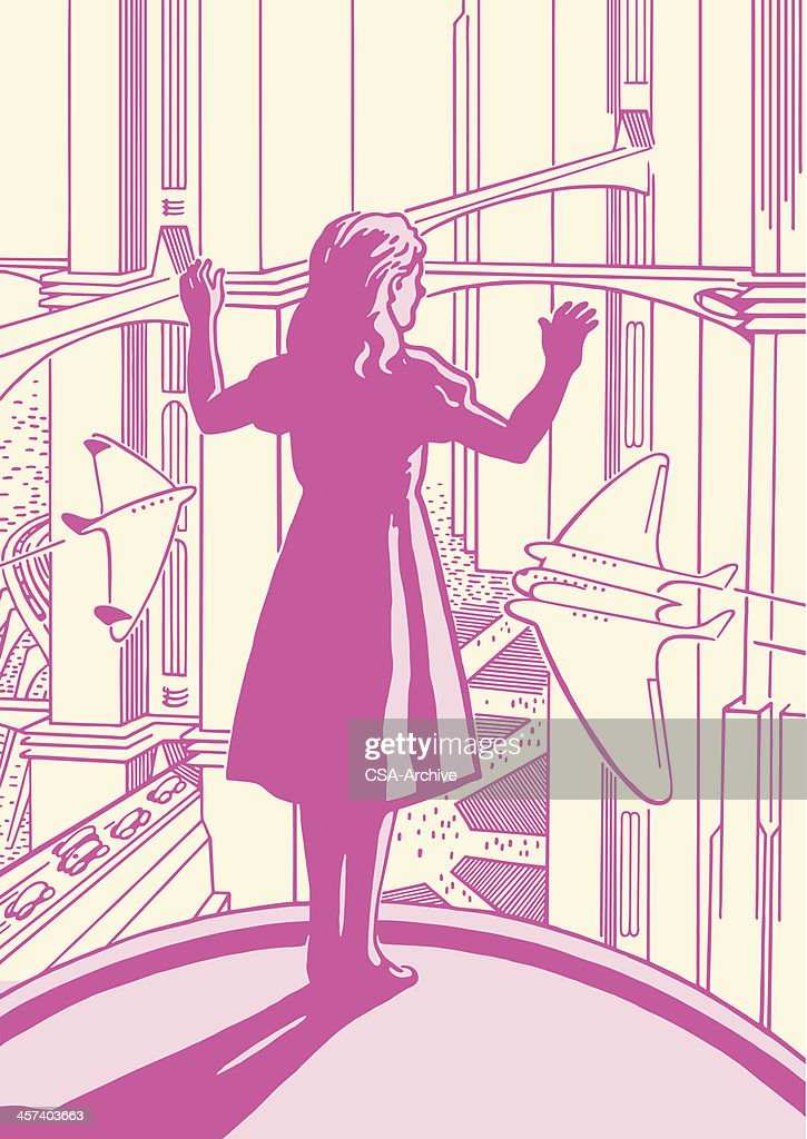 Girl Looking Out the Window : stock illustration