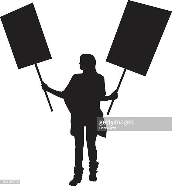 Girl lProtester Silhouette