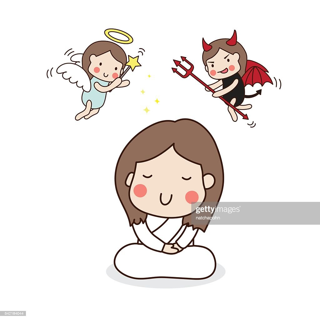 Girl meditating. Angel and devil.