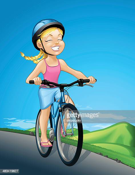 girl on a bicycle - bike helmet stock illustrations, clip art, cartoons, & icons