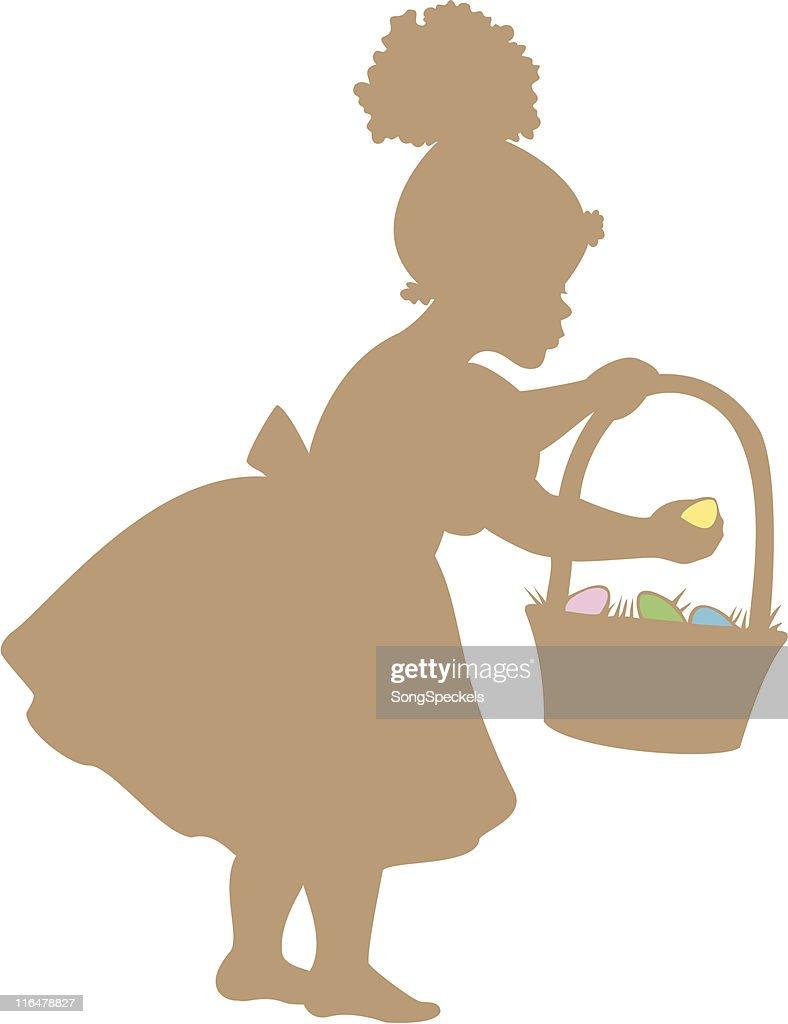 Garota com ovos de Páscoa caçam silhueta : Ilustração