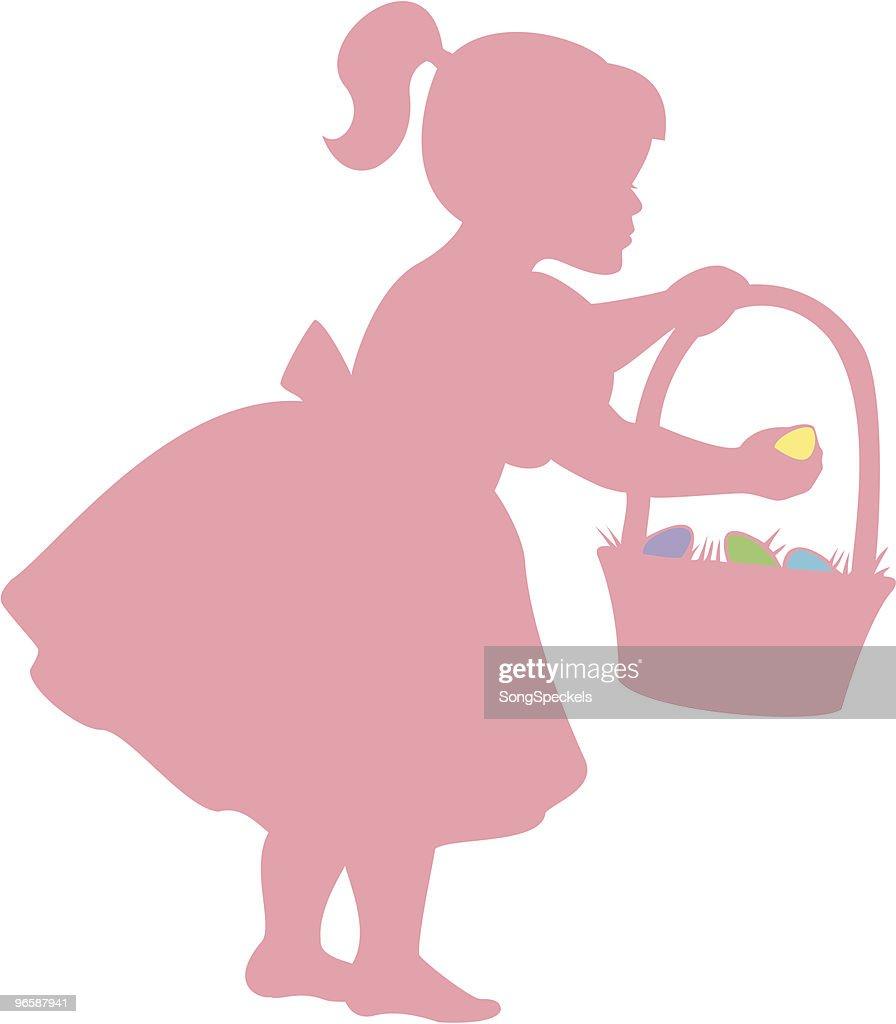 Garota com ovos de Páscoa caçam : Ilustração