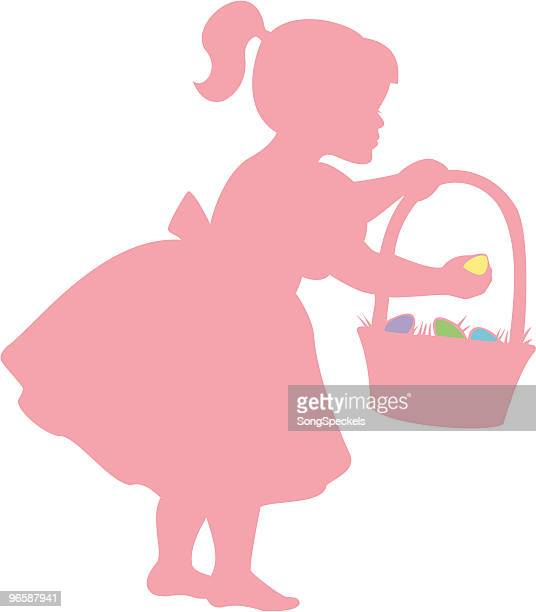 girl on easter egg hunt - sunday best stock illustrations, clip art, cartoons, & icons