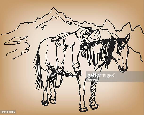 girl on horse - horse family stock illustrations, clip art, cartoons, & icons
