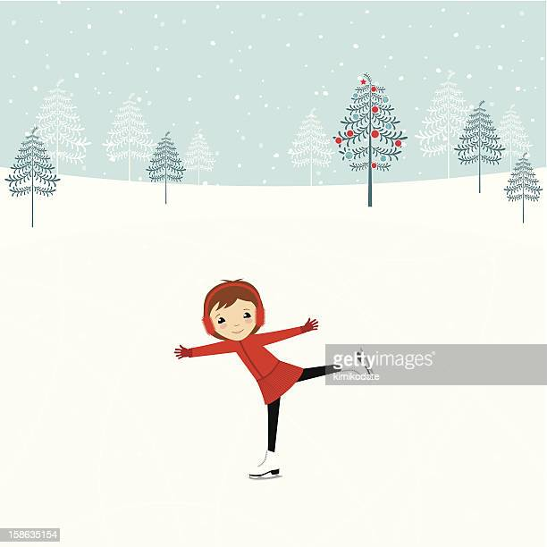girl on ice skating rink - ice skate stock illustrations, clip art, cartoons, & icons