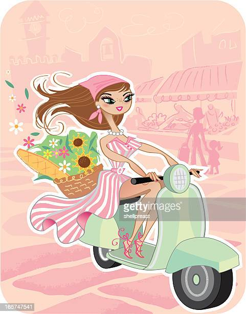 girl on scooter in market - moped stock illustrations, clip art, cartoons, & icons