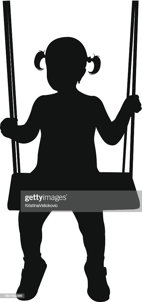 girl on swing vector art getty images Silhouette Vector Art People Silhouette Vector