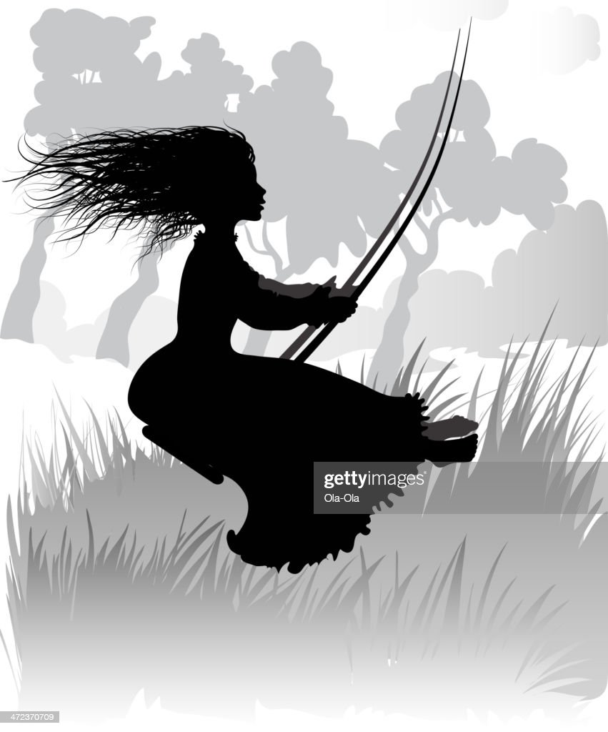 Girl on swing with black silhouette
