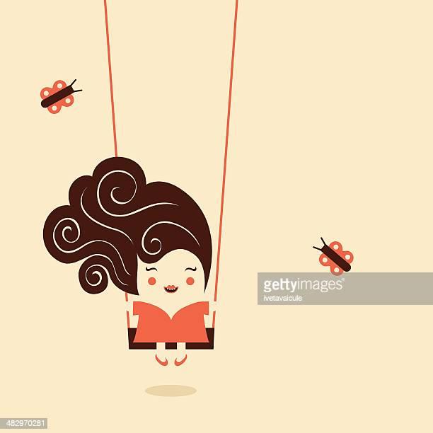 ilustrações de stock, clip art, desenhos animados e ícones de menina no balanço - cabelo cacheado