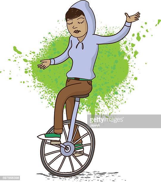 girl on unicycle illustration - unicycle stock illustrations, clip art, cartoons, & icons