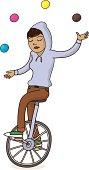 Girl on Unicycle Juggling