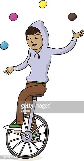 girl on unicycle juggling - unicycle stock illustrations, clip art, cartoons, & icons