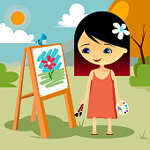 Girl painting in nature