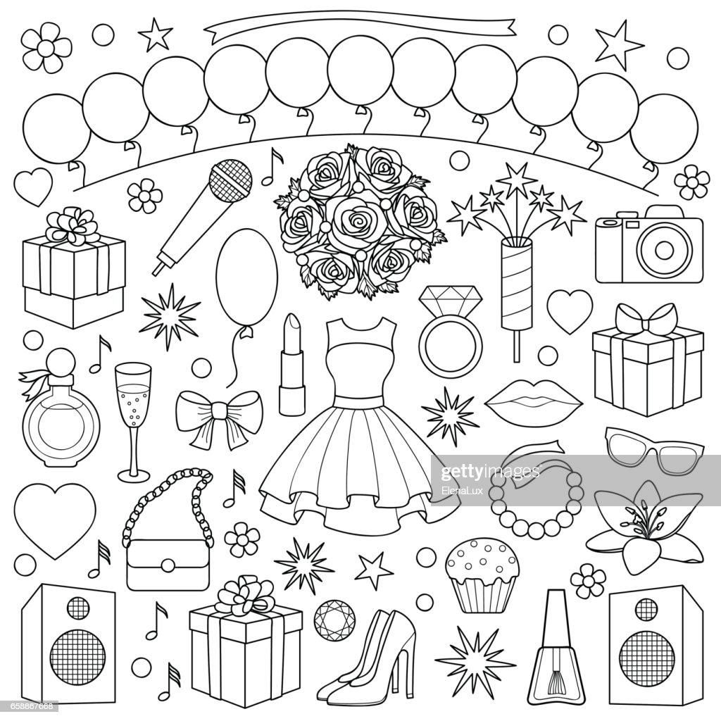 Girl Party Doodle Set
