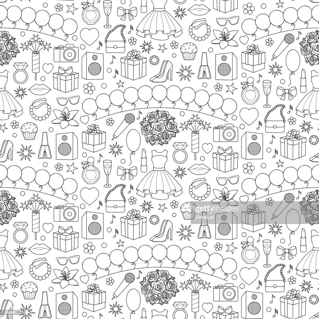 Girl Party Seamless Pattern