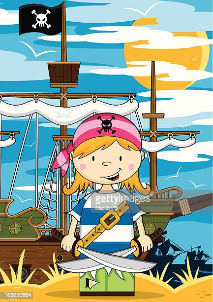 girl pirate crewman ship scene - one teenage girl only stock illustrations